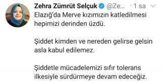 """Bakan Zehra Zümrüt Selçuk:""""Şiddet kimden ve nereden gelirse gelsin asla kabul edilemez"""""""