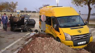 Elazığ'da minibüs ile otomobil çarpıştı: 7 yaralı