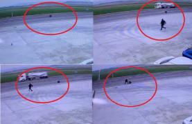 Anayolda kamyonetten teker fırladı, o anlar kamerada